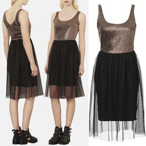 Topshop Metallic Bodice Jersey & Tulle Dress